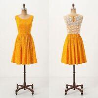 Womens Moulinette Soeurs Anthropologie Melora Marigold Yellow Dress Size 0