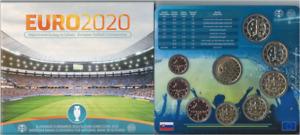 "1x Coffret BU (8 pièces) série Slovaquie 2021 ""EURO 2020"" (neuf)"