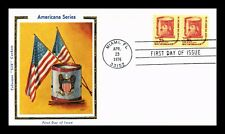 DR JIM STAMPS US AMERICANA DRUM COIL COLORANO SILK FDC COVER PAIR