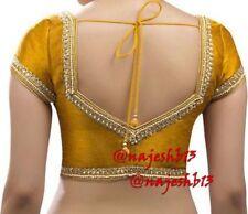 Indian Sari Blouse,Readymade Saree Blouse,Designer Mustard Kundan work Sari Top