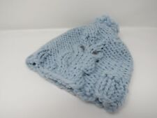 Handcrafted Knitted Hat Beanie Light Blue Owl Acrylic Wool Pom Pom Female Adult