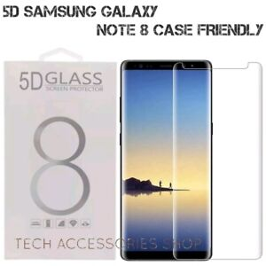 5D Tempered Glass Screen Protector For Samsung Galaxy Note 8 Clear Case Friendly