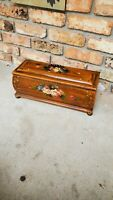 BEAUTIFUL ROSE STEAMER TRUNK VINTAGE VICTORIAN WEDDING OR BRIDES WOODEN CHEST