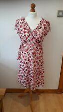 Lovely Size 14 WALLIS pink White Floral Dress     E
