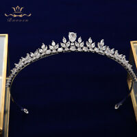 European Sparkling Zircon Crystal Bridal Tiaras Crowns Wedding Hair Accessory