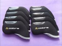 10PCS Golf Iron Headcovers Windows for Cobra Club Covers Caps Protector Black
