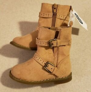 NEW Old Navy Girls SIZE 5 Faux Suede Zip Buckle Boots TAN Fall Winter #32119