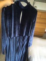 Asos Velvet Pleated Skirt Dress With Open Back 16 Christmas NYE Party