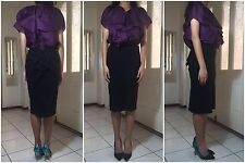 =SOPHISTICATED= LANVIN Black Back Ruffle Raw-Edge Wool Seamless Pencil Skirt US4