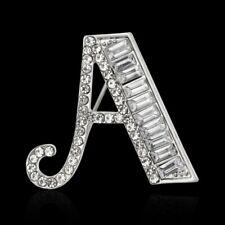 Brooch Pins Collar Women Men Jewelry Fashion Silver Letter A Alphabet Crystal