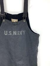 Vintage WW2 40s Blue U.S NAVY USN Deck Overalls Bibs Name Stenciled Pants Large