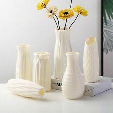 White Plastic Flower Vase Modern Home Decoration Imitation Ceramic Nordic Style