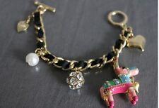 B32 BETSEY JOHNSON Horse PINATA Donkey Heart Bell  Key Pearls Hearts Bracelet UK