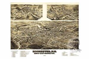 Vintage Rochester, NH Map 1884 - Historic New Hampshire Art - Old Industrial