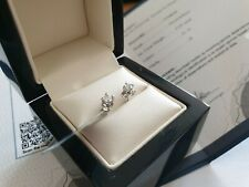 White gold 9ct G H I3 Certified Round Diamond Women Stud Earrings free postage