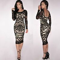 Womens Long Sleeve Ladies Bodycon Midi Lace Pencil Cocktail Party Evening Dress