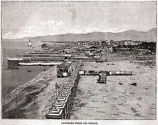 VIAREGGIO: Grande Veduta presa dal Faro. Versilia. Lucca. Stampa Antica. 1897