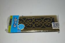 Decor Grates 4x12 Scroll Steel Plated Brass Register  SPH412