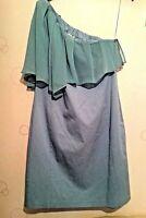 Belle by Oasis women  pale aqua blue one shoulder evening  dress.Lined. Size 12