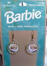 1996 Hallmark Holiday Barbie Pierced Earrings: New on Card