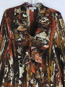 Vintage 2X Brown Floral Blouse Pleated Ruffled Button Front Bell Sleeve Top