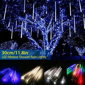 30cm 144LED Lights Meteor Shower Rain 8 Tube Xmas Snowfall Tree Outdoor Light US