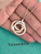 Tiffany & Co 1837 Rubedo Sterling Silver 3 Interlocking Circles Pendant Necklace