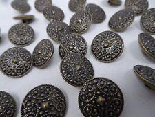 Vintage Antique Nickel Black Geometric Shank Buttons 22mm Lot of 10 B120-11