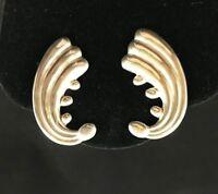 Alfredo Villasana Vintage 1950s Sterling Silver Screwback Earrings Taxco Mexico
