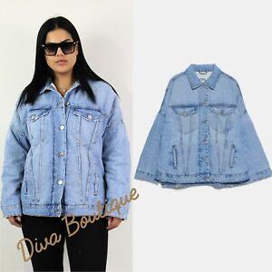 Zara AW 2019/20 Oversized Denim Jacket Coat Faux Shearling Interior Free P&P NEW