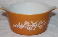 Pyrex 473-B Burnt Orange Flowers Butterfly Gold Baking Casserole Dish NO LID!