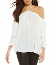 NEW 1.STATE Women's Off-The-Shoulder Tiered-Sleeve Top New Ivory XS MSRP $89.00
