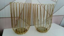 Set of Two Gold Metal Wire Hurricane Candle Holders Gold NEW