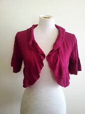 Two-One-Two New York magenta crop bolero knit with short sleeves