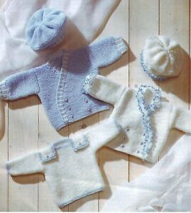 "Premature Baby Knitting Pattern DK  Jackets, Sweater & Beret 12-18""  0-6 mths"