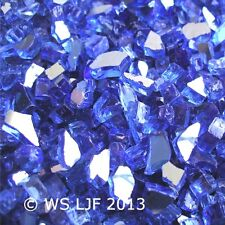"30 LBS ~1/4"" Cobalt Reflective Fireglass Fire Pit Glass Rocks Fireplace Crystals"