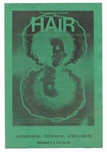 Program from Rock Musical Hair, Greensboro, North Carolina, 1971