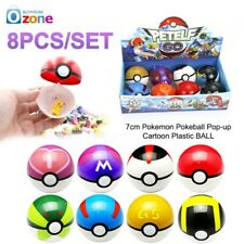 8X 7cm Pokemon Pokeball Pop-up Cartoon Kunststoff Ball Spielzeug Kinder Geschenk