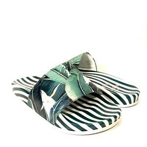 KOIO x The Beverly Hills Hotel Womens Palm Print Slides Sandals Green -MSRP $275