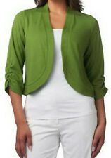 NEW SUSAN GRAVER Ponte Knit Bolero with 3/4 Ruched Sleeve 216998