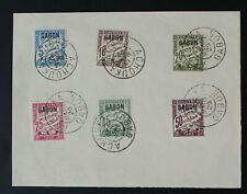 France, Gabon, 1929, A.E.F , Postage Due Stamps on Document  #m62