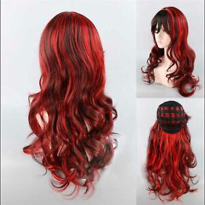 Women wig Black red gradient long 80cm curly hair slanted bangs cosplay Wigs