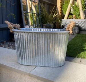 Oval Ribbed Silver Metal Bucket Tin Vintage Garden Planter Plant Pot Wedding