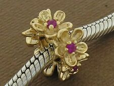Bd092 - Large 9ct Solid Yellow Gold Natural Ruby Blossom Garland Bead Charm