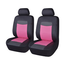 PU Leather Front Car Seat Covers Black Sweet Pink Ladies Universal Fit Auto Seat