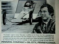 """Don Prudhomme Wedge Dragster PENNZOIL 1910 Original Print Ad 8.5 x 11"""""""