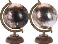 Retro 23cm Metallic Globes Ornament Globe on Wood Stand