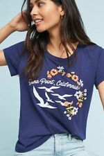 Anthropologie California Beaches Graphic Tee Blue Top Floral Embroidery Size S