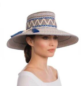 Authentic NWT Eric Javits Designer Women's Hat - Palermo in Cream/Blue Tweed