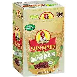 Raisins, Organic, 4 lbs, 4 ct   1lb/1ct
